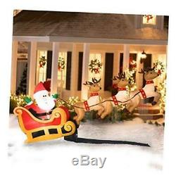 10 Ft Wide Santas Sleigh Taking Off Airblown Inflatable with 3 Reindeer