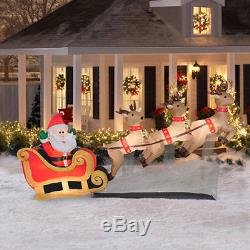 10ft Santa Sleigh & Reindeer Christmas Lighted Airblown Inflatable Outdoor Decor