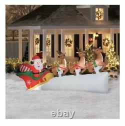 11' Santa Sleigh 3 Flying Reindeer Christmas Gemmy Airblown Inflatable Decor