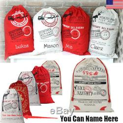 120 Large Natural Canvas Dec 25th Christmas Santa Sack Gift Stocking Bag RED/WT