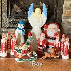 12 Vintage 1960-70s Empire Blow Molds Santa Candle SnowMan Angel Sleigh Reindeer