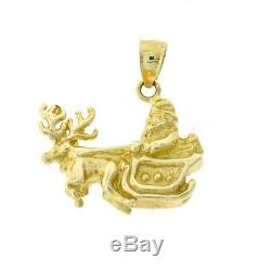 14k Yellow Gold 3D Santa in his Sleigh with a Reindeer Dazzlers Charm 5487