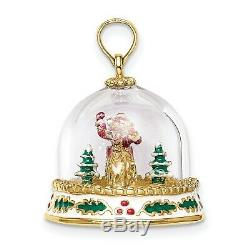 14k Yellow Gold Santa with Sleigh and Reindeer in Snow Globe Pendant