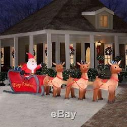 16' HUGE Inflatable Lighted Santa in Sleigh with Reindeer Outdoor Yard Holiday