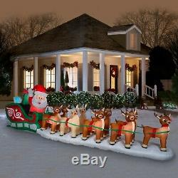 17.5 Ft COLOSSAL Lighted Santa Sleigh with 8 Reindeer & Rudolph Inflatable