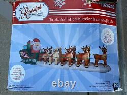 17 Ft. HUGE! Lighted Christmas Inflatable Santa in Sleigh with8 Reindeer RUDOLPH