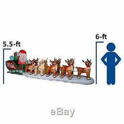 17 Ft. HUGE! Lighted Christmas Inflatable Santa in Sleigh with8 Reindeer &Rudolph