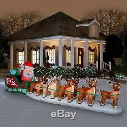 17 Ft. Lighted Christmas Inflatable Santa in Sleigh 9 Reindeer & Rudolph