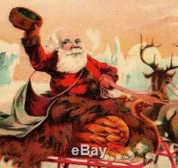 1880's Star Soap Christmas Card Santa Gold Swan Sleigh Reindeer Schultz & Co. 7C