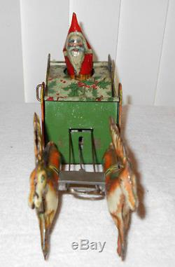 1923 Strauss Santee Claus Santa Wind Up Tin Litho Sleigh with Reindeer Pulling