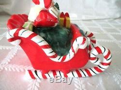 1950's LEFTON-JAPAN-CHRISTMAS CANDY CANE SLEIGH W REINDEER- PORCELAIN SANTA SET