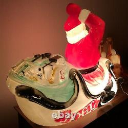 1970 Vintage Empire Blow Mold Santa in Sleigh with 2 Reindeer / Christmas Lights