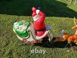 1970 Vintage Empire Santa Sleigh & Reindeer Blow Mold Christmas Yard Decorations