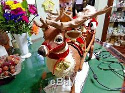 1993 Animated Lighted & Music Reindeer & Santa On Sleigh In The Box Working