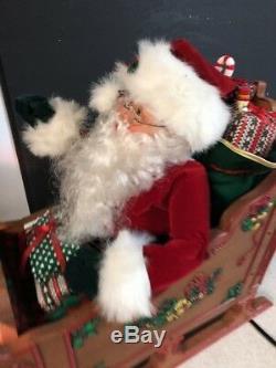 1993 Holiday Creations Animated Lighted Musical Santa Sleigh & Reindeer 36 X 18