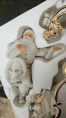 2000 Grandeur Noel Porcelain Christmas Ensemble Santa, Reindeer & Sleigh Set