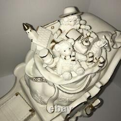 2001 COLLECTORS EDITION Porcelain Santa and Sleigh Set Reindeer Grandeur Noel