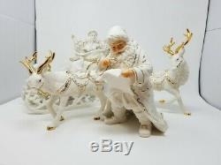 2001 Grandeur Noel Collector's Edition Porcelain 4pc Santa Sleigh Reindeer EUC