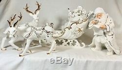 2001 Grandeur Noel Collector's Porcelain Santa and Sleigh Set Reindeer