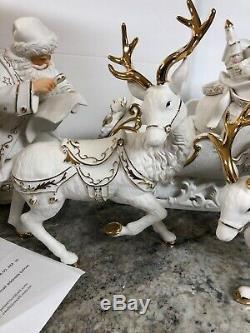 2001 Grandeur Noel Collector's Porcelain Santa and Sleigh Set Reindeer In Box