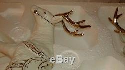 2001 Grandeur Noel White Gold Porcelain Santa Sleigh 2 Reindeer Large Figurines