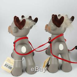 2009 DAM Santa sleigh Kane no. 2409 & 2 Reindeer Rensdyr no. 2410 troll doll