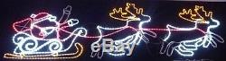 210cm Santa Sleigh + 2 Reindeer Flashing Silhouette With LED Lights (RL83195)