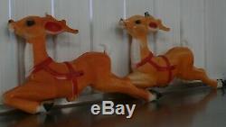 2 Vintage Empire Christmas Santa Sleigh Reindeer Blow Mold Decor Yard Decor C