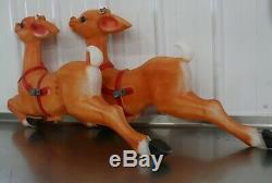 2 Vintage Empire Christmas Santa Sleigh Reindeer Blow Mold Decor Yard Decor D