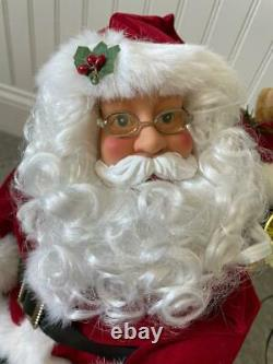 34 Christmas International Animated Talking Lighted Santa Sleigh & Reindeer