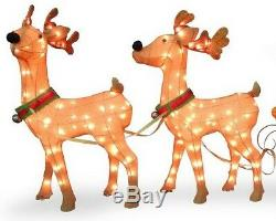 34 Pre-Lit Santa with Reindeer and Sleigh Indoor/Outdoor 245 Lights