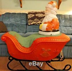 36 Poloron Santa Sleigh Christmas Blow Mold Light Yard Decor Vintage Reindeer