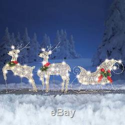 3 PC Reindeer And Santa Sleigh Set Outdoor Lighted Christmas Decoration Silver