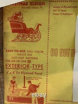 3 VTG 1956 Douglas Fir Plywood Association Santa Claus, Sleigh, Reindeer Cutouts