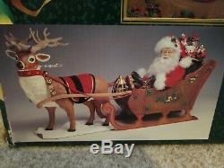 42 VTG Holiday Creations Animated/ Musical IIluminated Reindeer & Santa Sleigh