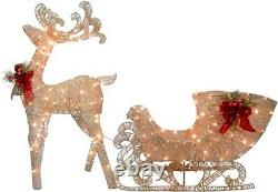 48 in. Reindeer and Santas Sleigh with LED Lights by National Tree Company