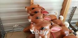 (4) Blow mold reindeer for Santa in sleigh read description & pickup discount