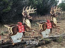 4 Vintage Christmas Cutout Patterns Douglas Fir Plywood Reindeer Sleigh Santa