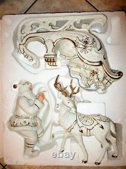 4 pc Member's Mark Holiday Collection Porcelain Santa Sleigh 2 Reindeer LARGE