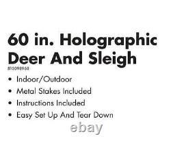 60 Christmas Lighted Holographic Santa, Reindeer & Sleigh Yard Lawn Decor