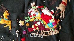 60 Handmade Wool Santa Sleigh Reindeer CHRISTMAS TREE SKIRT Applique Embroidery
