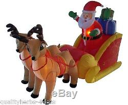 6' Inflatable Santa Claus Sleigh WithReindeer Lighted Outdoor Christmas Decoration