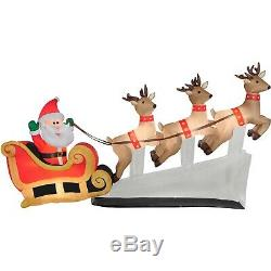 6ft Santa Claus Sleigh with Reindeers Christmas Decoration Inflatable Lighted US