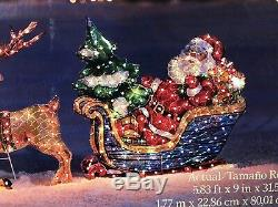 70 HOLOGRAPHIC LIGHTED CHRISTMAS Santa SLEIGH REINDEER HOLIDAY OUTDOOR Yard