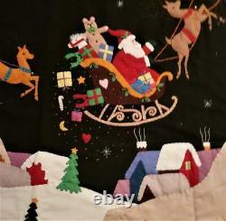 72 Handmade Wool Santa Sleigh Reindeer CHRISTMAS TREE SKIRT Embroidered Beaded