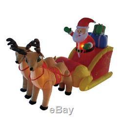 7 ft Inflatable Airblown Santa Sleigh Reindeer Warm LED Lights Christmas Decor