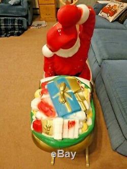 82 General Foam Santa Sleigh Reindeer Christmas Blow Mold Light Yard Decor Vtg