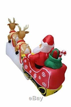 8 Foot Long Christmas Inflatable Santa Claus on Sleigh with Two Flying Reindeer