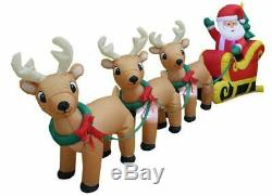 8 Foot Long Christmas Inflatable Santa on Sleigh with 3 Reindeer and Christmas T