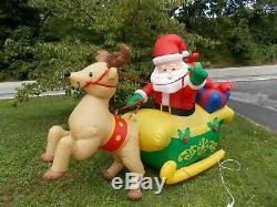 8' Gemmy Holiday Christmas Inflatable Santa withGifts Sleigh & Reindeer 2002 RARE